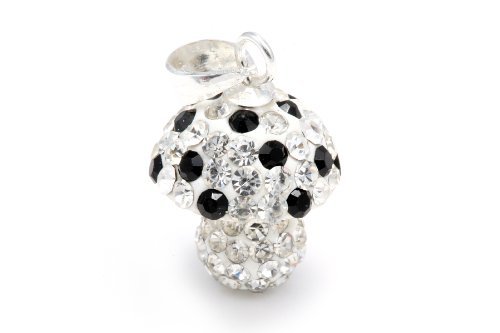 Authentic Diamond Color and Black Mushroom Crystals , Includes Sterling Silver Chain 18 Inches Rolo. Now At Our Lowest Price Ever but Only for a Limited Time!