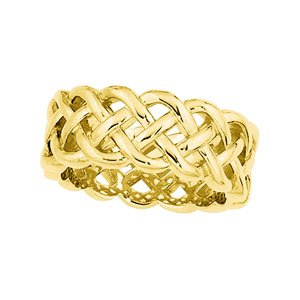 14ct Yellow Gold Celtic Wedding Band Ring - Size P 1/2