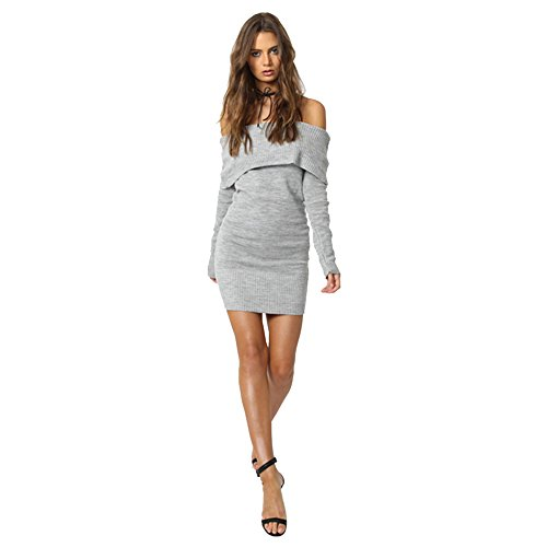 Longwu Women Off Shoulder Casual Sweater Long Sleeve Tops Bodycon Short Slim Dress Grey