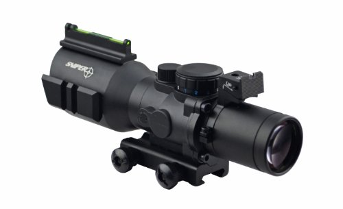 "Tactical 4"" Long Eye Relief Scope With Fibe Optics And Rear Sight And Etched Bdc Glass Reticle"
