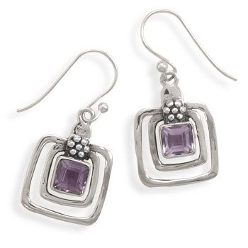 Cut Out Square Amethyst Earrings