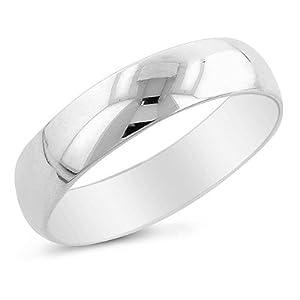 14K White Gold 5mm Men's Wedding Band Ring Size 10.5