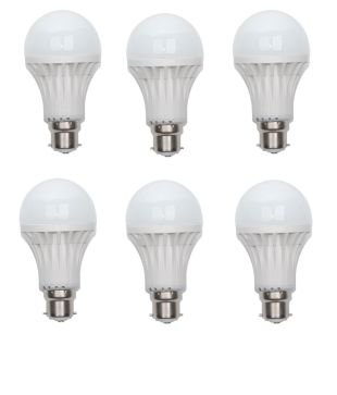 15W Virgin Plastic B22 Led Bulb (White, Set Of 6)