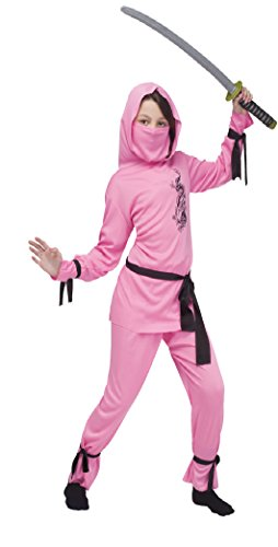 Girls Pink Ninja Kids Child Fancy Dress Party Halloween Costume