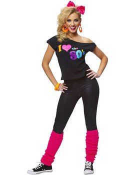 Ladies Womens I Love the 80's T-shirt 1980's 80s Fancy Dress Costume Outfit