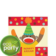 16 pc Sock Monkey Birthday Party Beverage Napkins - 1