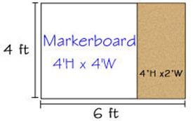 Combination Porcelain Steel Marker and Bulletin Boards-type E reverse EL 4' x 6' (Tack-Le' 4' x 2', Marker-Cent Right 4' x 4')