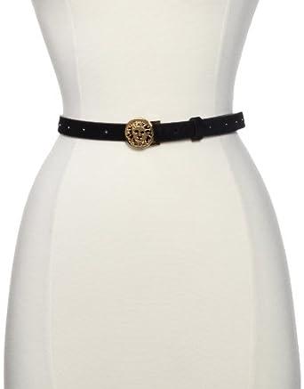 AK Anne Klein Women's Suede Skinny Belt With AK Logo, Black, Small