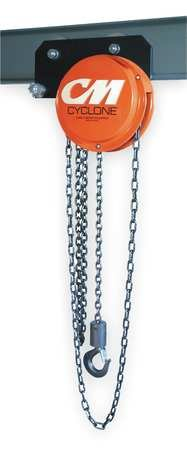 CM 4925 Cyclone Geared Trolley Chain Hoist, 3000 lbs Capacity, 10' Lift Height, For Low Headroom