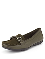 Footglove™ Leather Buckle Trim Moccasin