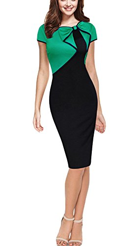 REPHYLLIS Women Cap Sleeve Bow-Knot Wear to Work Business Cocktail Pencil Dress (Small, Green)