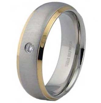 7MM Stainless Steel Ring With Gold Plated Edges and CZ in Center