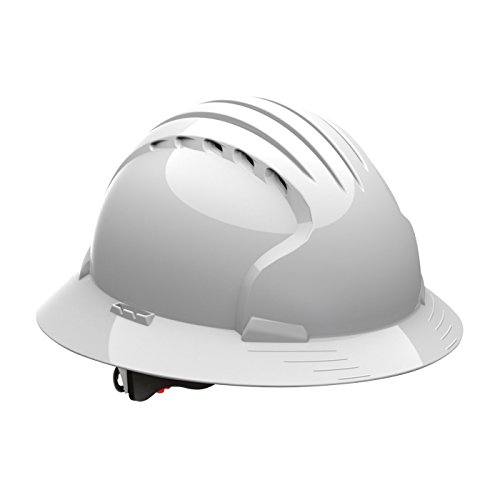 Evolution Deluxe 6161 280-EV6161-10V Full Brim Hard Hat with HDPE Shell, 6-Point Polyester Suspension and Wheel Ratchet Adjustment Vented, White (White Full Brim Hard Hat compare prices)