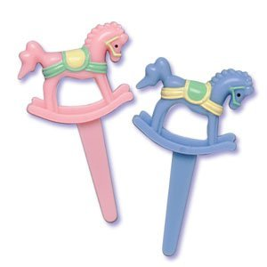 Baby Shower Rocking Horse Cupcake Picks - Set of 12 [Kitchen]