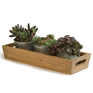 Garden Trading Wooden Tray And Galvanised Herb Plant Pots