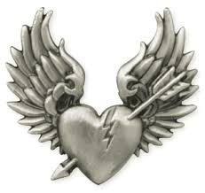 Broken Heart with Wings Biker Concho / Emblem, for Harley Motorcycle Leather. Screw back / Also can be used in any Leather - Belt / Saddle