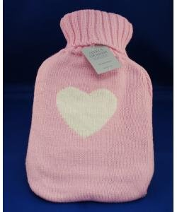 Gisela Graham Hot Water Bottle Pink with Heart