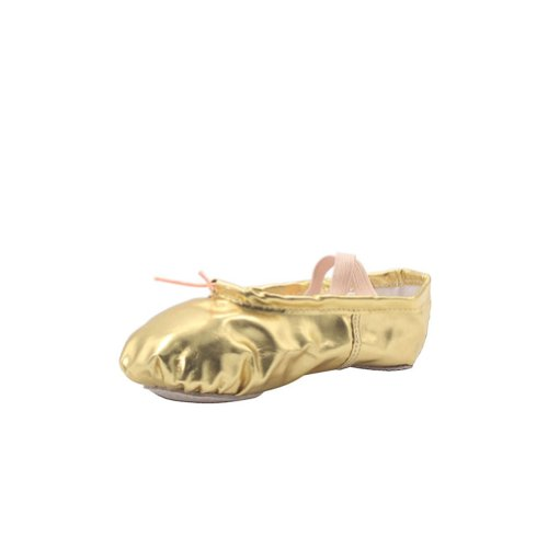 Msmushroom Girl's Pu Ballet Dancing Shoes with Split Soft Sole,Gold,9 M US