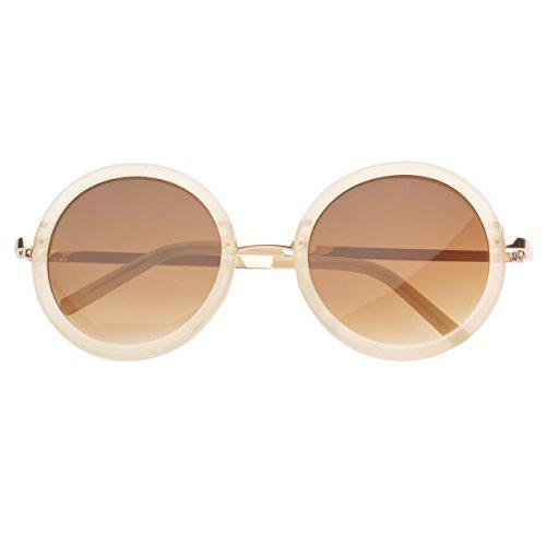Mlc Eyewear ® Binoculars Round Fashion Sunglasses In Beige
