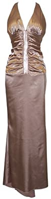 Ruched Satin Halter Dress Crystal Back Holiday Party Cocktail