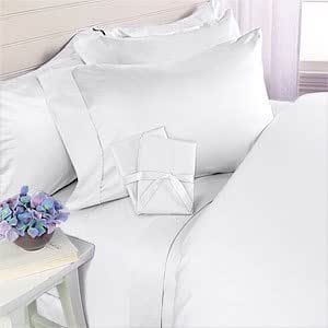 Elegant Comfort 1500 Thread Count Wrinkle & Fade Resistant Egyptian Quality Ultra Soft Luxurious 4-Piece Bed Sheet Set, Queen, White