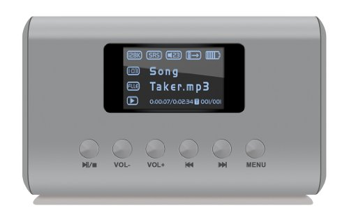 Visual Land ME-909-SIL Mini MP3 Boombox Speaker for MicroSD/SD/USB Flash/Line In & Out/FM Radio (Silver)