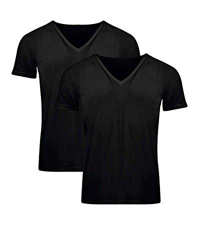 FILA - FILA Underwear - Pack da 2 pezzi - Maglia scollo a V in cotone (46068) - XL, Nero