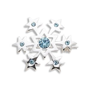 Sterling Silver Snowflake with Aqua Crystals Pin