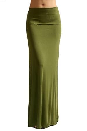 Azules Women'S Rayon Span Maxi Skirt - Army Green S