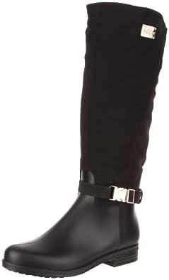 dav Women's Ricki Solid Rain Boot,Black,10 M US
