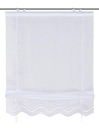57452-501 Bändchenrollo mit Lochstickerei, 140 x 60 cm, Batist, weiß