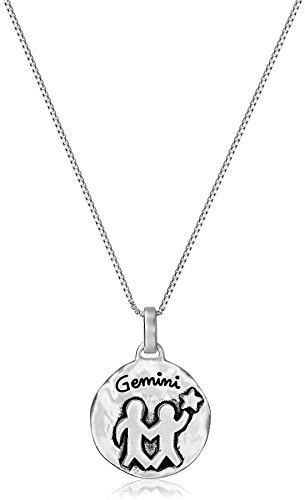 "Sterling Silver Zodiac Sign, Gemini Reversible Pendant Necklace, 18"""