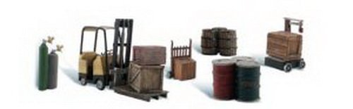 loading-dock-details-forklift-crates-barrels-wellding-tanks-hand-cart-ho-scale-woodland-scenics-by-w
