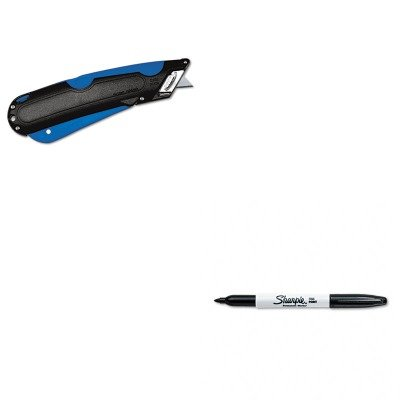 Kitcos091508San30001 - Value Kit - Cosco Easycut Cutter Knife W/Self-Retracting Safety-Tipped Blade (Cos091508) And Sharpie Permanent Marker (San30001)