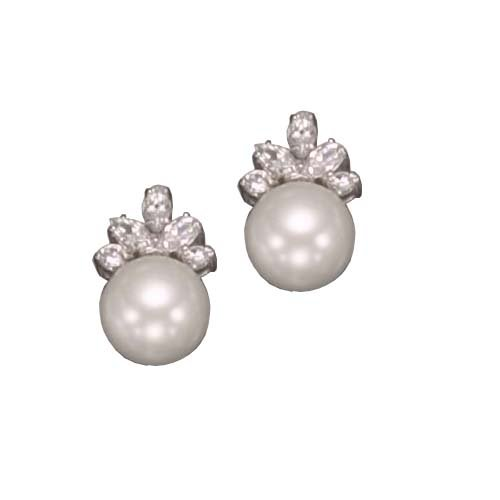 Pearl Sterling 925 Silver Stud Earrings Half Bezel Set with CZ Diamonds & Round White Pearl - Incl. ClassicDiamondHouse Free Gift Box & Cleaning Cloth