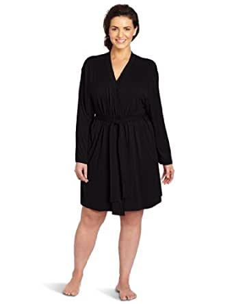 Casual Moments Women's Plus-Size Wrap Robe, Black, 1X