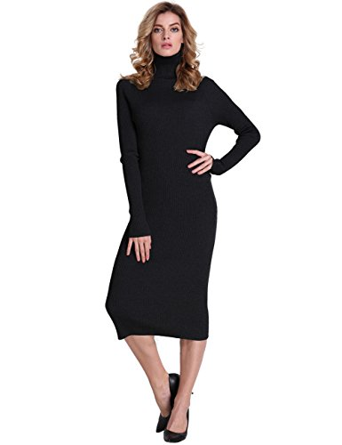 PrettyGuide Women Slim Fit Ribbed Turtleneck Long Sleeve Midi Length Sweater Dress Black XL