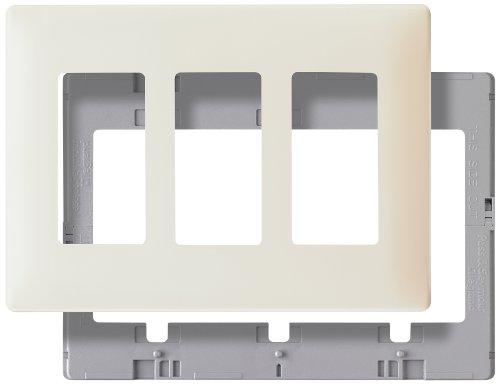 Pass & Seymour SWP263LABPCC10 Screw Less Wall Plate Plastic Sub Plate Three Gang Light, Almond