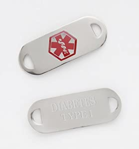Medical Alert Stainless ID TAG for Bracelet Diabetes Type 1