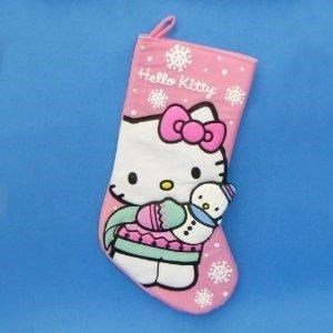 "Hello Kitty 19""Pink Stocking With Snowman by Christmas Stocking"