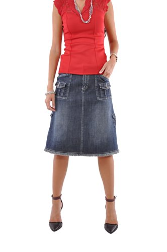 Style J Fabulous 'N Pockets Denim Skirt-Blue-26(6)