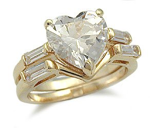 CZ WEDDING RINGS - Heart Shape Cubic Zirconia Engagement Ring and Wedding Band