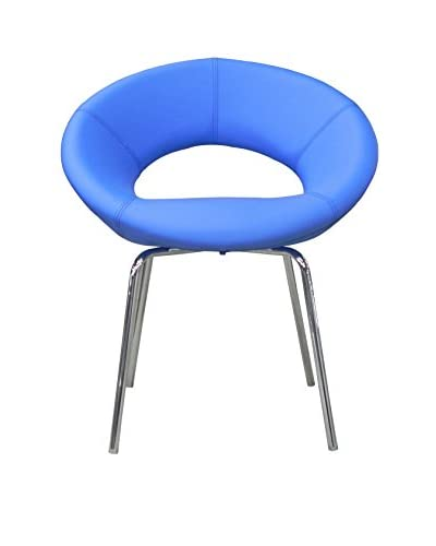 Furniture Contempo Set of 2 Naz Chairs, Blue/Chrome