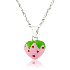 Hellrosa und rote Polka Dot Erdbeere an Sterling Silber Halskette