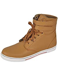San Franco Men's Beige Synthetic Leather Lace Up Ancle Boot