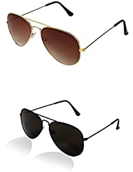 SHEOMY COMBO OF STYLISH BLACK AVIATOR AND GOLDEN BROWN AVIATOR SUNGLASSES WITH 2 BOX