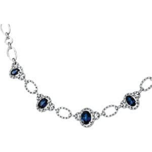 IceCarats Designer Jewelry 14K White Gold Genuine Sapphire And Diamond Necklace 18 Inch