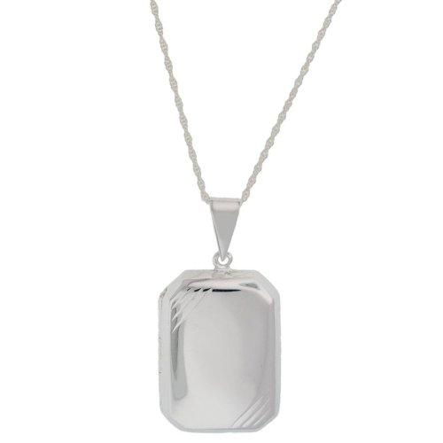 Silver Large Rectangle Polished Stripe Edge Locket Pendant + Rope Chain 56cm