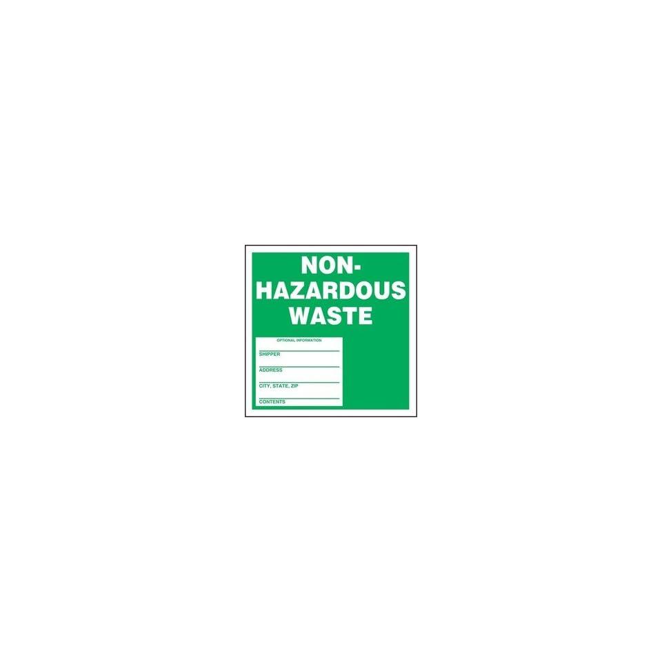 Hazardous Waste Adhesive Vinyl Labels NON REGULATED WASTE OPTIONAL INFORMATION 6 x 6 (QTY/25)