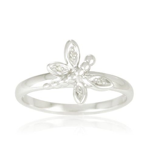 Sterling Silver Diamond Dragonfly Ring (0.017 cttw, I-J Color, I2-I3 Clarity), Size 7